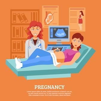 Ultrasonido embarazada que comprueba el cartel