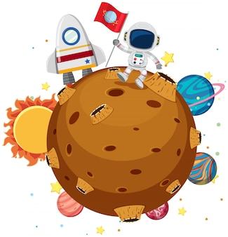 Un astronauta explorando en el planeta
