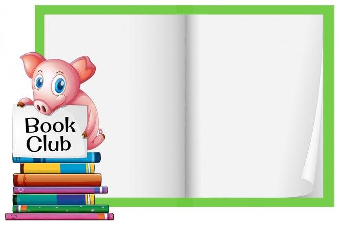 Un cerdo y un cuaderno en blanco