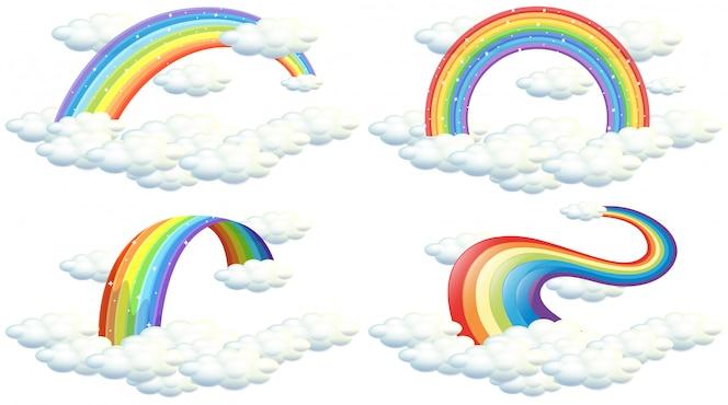 Un conjunto de arco iris en el fondo blanco