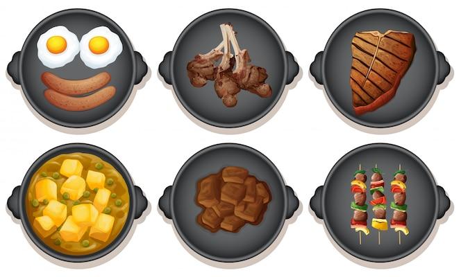 Un conjunto de comida en la placa calefactora