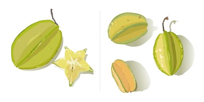 Un conjunto de fruta estrella aislado sobre fondo blanco