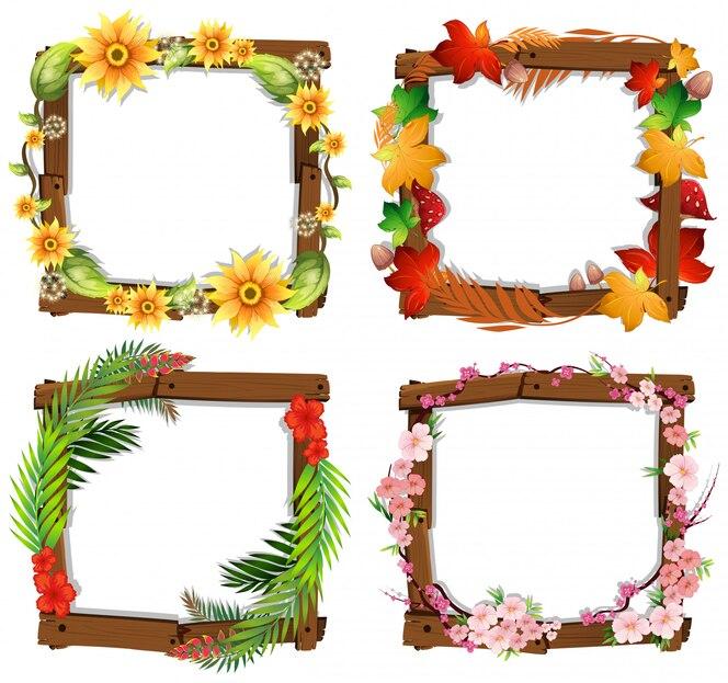 Un conjunto de marco de madera de flores