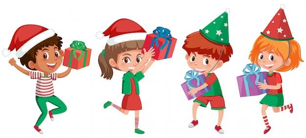 Un conjunto de niños de navidad