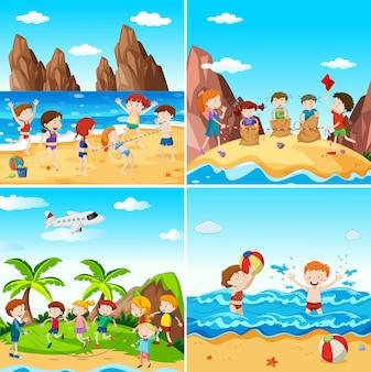 Un conjunto de niños en la playa
