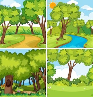 Un conjunto de paisaje de la naturaleza