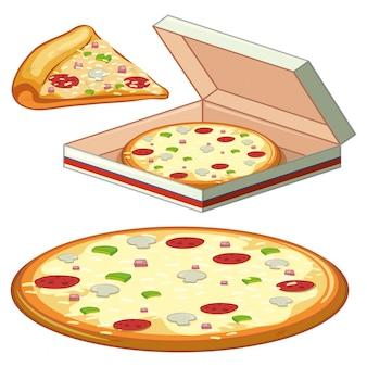 Un conjunto de pizza en el fondo blanco