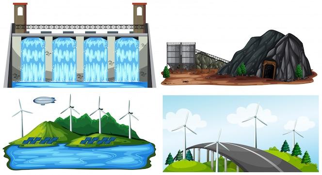 Un conjunto de planta de energía eléctrica natural