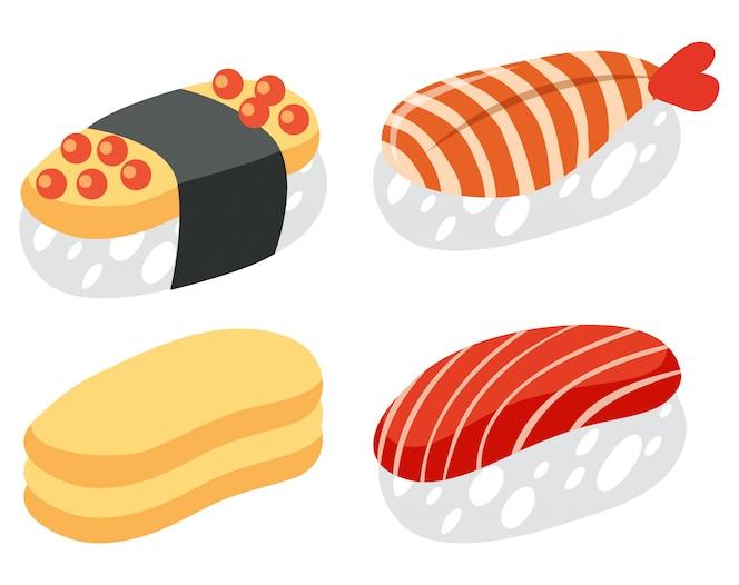 Un conjunto de sushi en el fondo blanco
