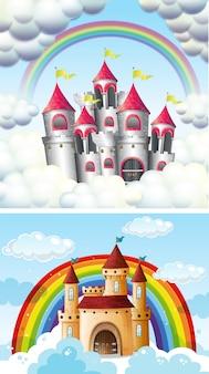 Un hermoso castillo de cuento de hadas en el cielo