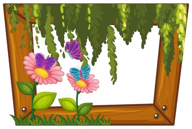 Un hermoso marco de madera de flores
