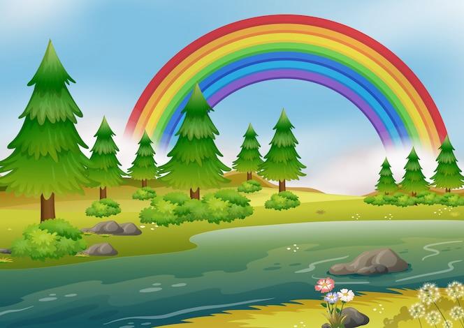 Un hermoso paisaje del río rainbow