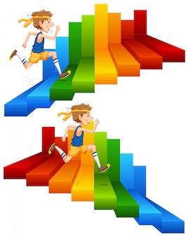 Un hombre corriendo en la escalera de colores