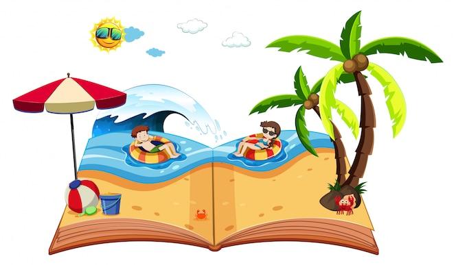 Un libro emergente con escena de playa