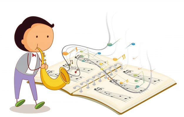 Un músico sosteniendo una trompeta con un cuaderno musical