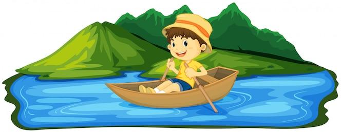 Un niño que rema el barco