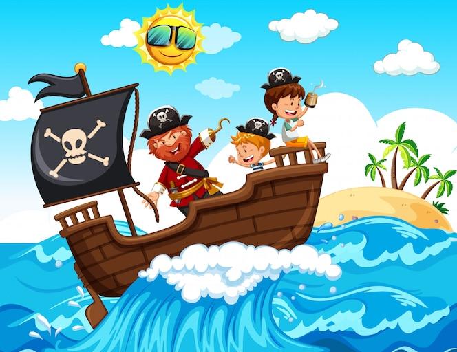 Un pirata y niños felices en el barco