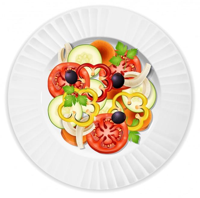 Un plato de ensalada de verduras