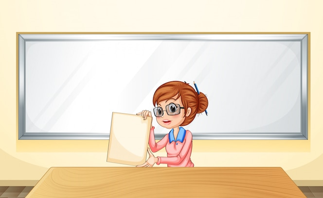 Un profesor frente a la pizarra con una plantilla vacía