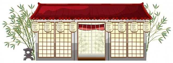 Un restaurante japonés en el fondo blanco