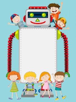 Un robot y una plantilla de niños felices