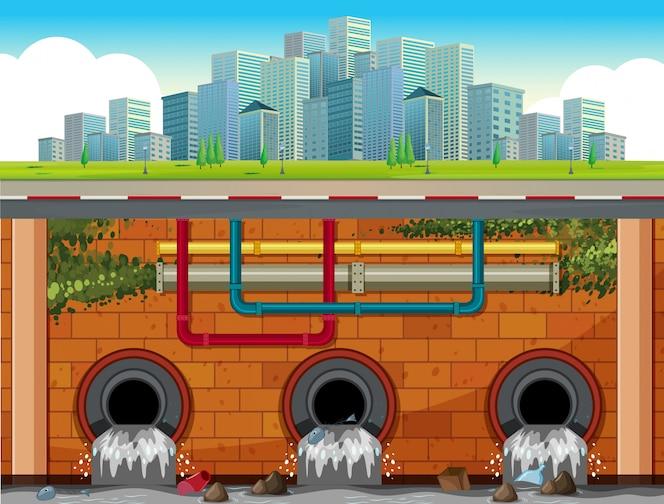 Un sistema de drenaje subterráneo de big town