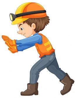 Un trabajador de la construcción en el fondo blanco