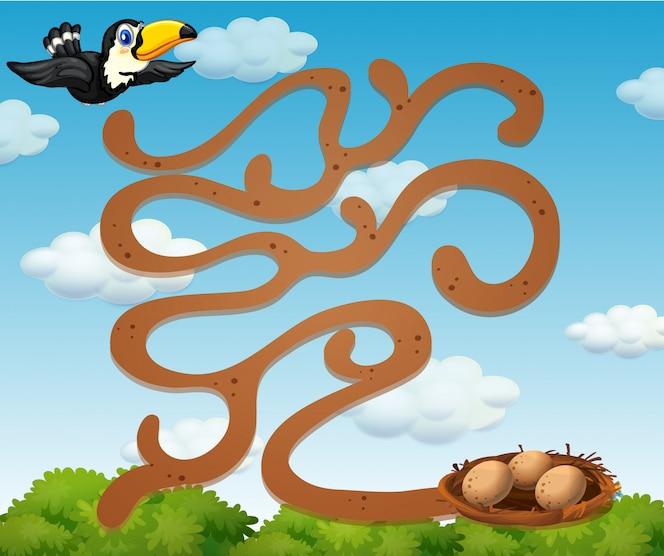 Un tucán que encuentra la plantilla de juego de nido