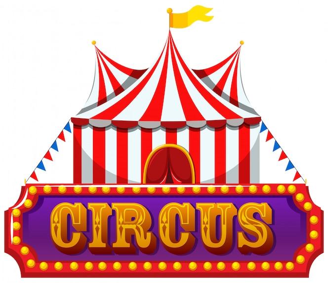 Una bandera de circo en el fondo blanco