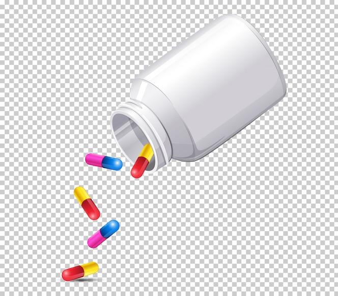 Una botella de medicina en el fondo transparente