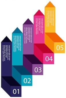 Una colorida información pasos