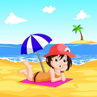 Una dama disfrutando el verano en la playa