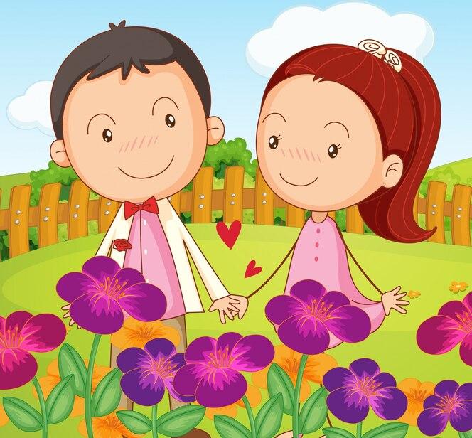 Una dulce pareja en el jardín en la cima de la colina