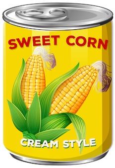 Una lata de dulce estilo de crema de maíz