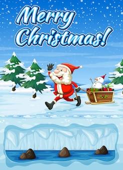 Una tarjeta de feliz navidad de snowt