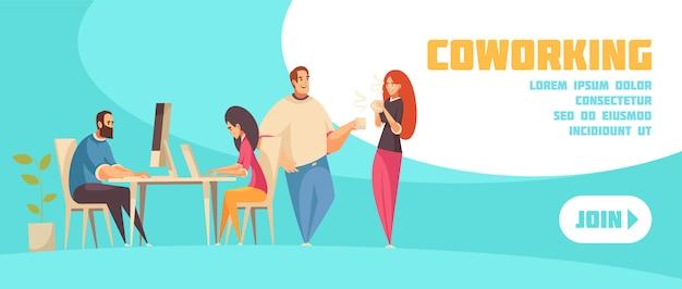 Únase al banner web horizontal de coworking con un grupo de personas creativas sentados en la computadora portátil y hablando sobre una ilustración plana de café