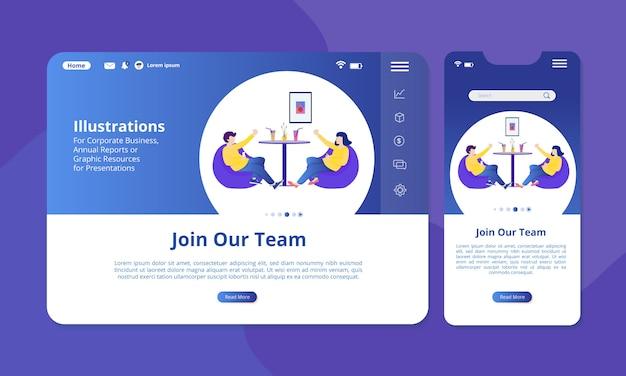 Únase a la ilustración del equipo en la pantalla para visualización web o móvil.