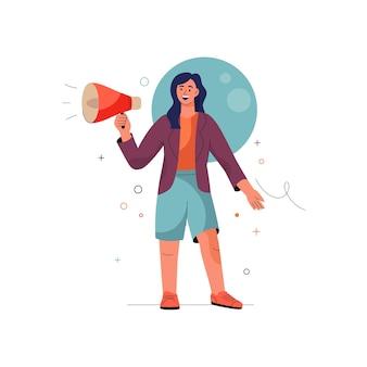 Únase a nosotros concepto mujer grita en megáfono atrayendo nuevos clientes