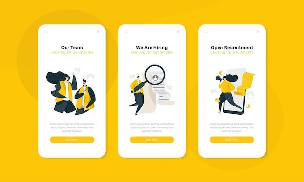 Únase a nosotros ilustración de reclutamiento en el concepto de interfaz de pantalla a bordo