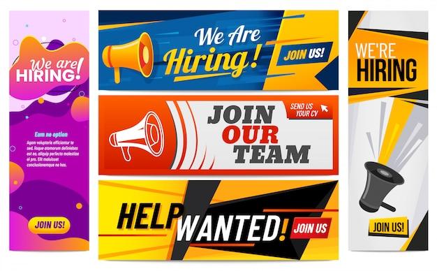 Únase a nuestro equipo, banner promocional de vacantes y contrataciones plantilla creativa conjunto de ilustración vectorial