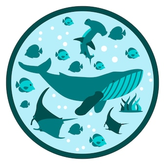 Underwater life flat round illustration deep style