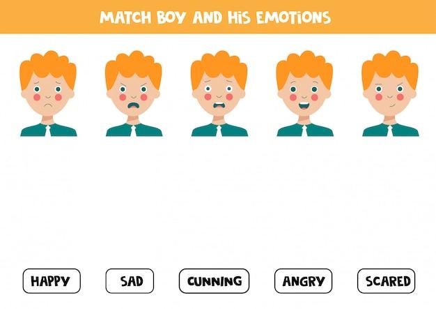Une las expresiones faciales del niño con las emociones. hoja de trabajo lógica.
