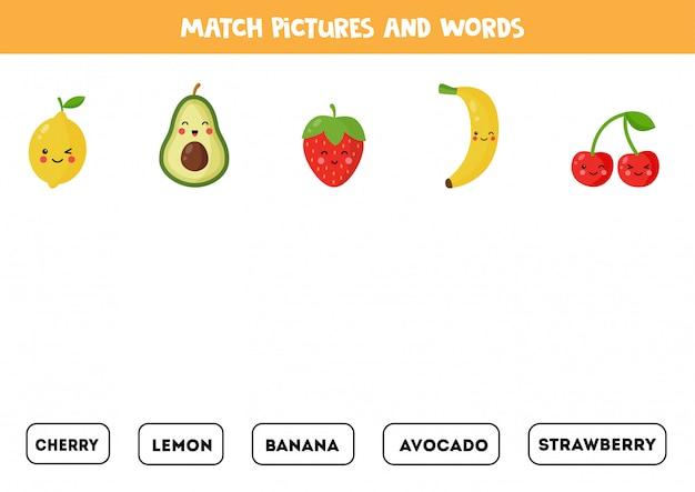 Une frutas y bayas con las palabras escritas.