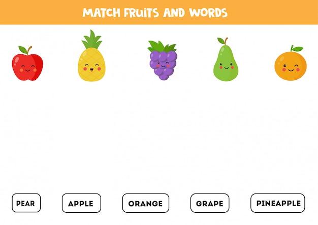 Une frutas con las palabras. juego de gramática inglesa