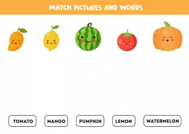 Une las frutas y verduras kawaii con las palabras escritas.