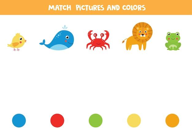 Une imágenes de animales con círculos de colores. juego de lógica educativo para niños.
