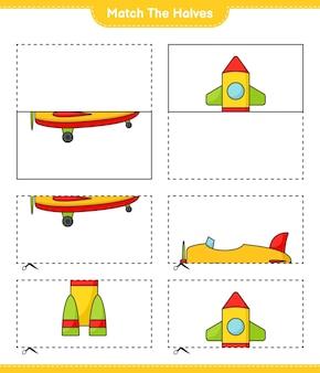 Une las mitades une las mitades del avión y el cohete hoja de trabajo imprimible del juego educativo para niños