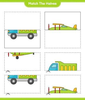Une las mitades une las mitades del camión y el avión hoja de trabajo imprimible del juego educativo para niños