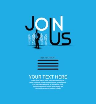 Únete a nosotros cartel fondo azul