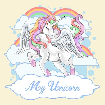 Unicorn invitation cumpleaños kid card